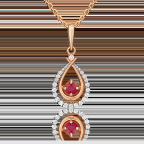 Подвеска из красного золота с рубином и бриллиантом 03-0537-00-107-1110-30