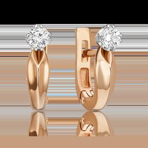 Серьги с английским замком из комбинированного золота с бриллиантом 02-4901-00-101-1111-30