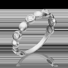 Кольцо из белого золота с фианитом огр.SW 01-5344-00-501-1120-38
