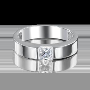 Обручальное кольцо из белого золота с фианитом 01-3340-00-401-1120-03