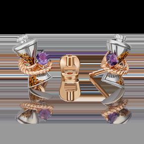 Серьги-пусеты из комбинированного золота с аметистом и эмалью 02-4873-00-203-1111