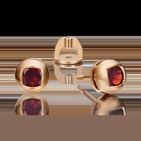 Серьги-пусеты из красного золота с гранатом 02-4559-00-204-1110-57