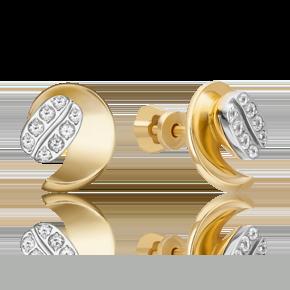 Серьги-пусеты из лимонного золота с топазом white 02-4917-00-201-1121