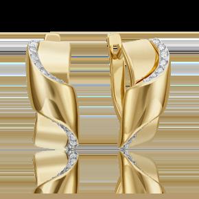 Серьги с английским замком из лимонного золота с фианитом 02-4594-00-401-1130-23