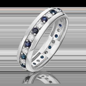 Кольцо из белого золота с бриллиантом и сапфиром 01-1091-00-105-1120-30