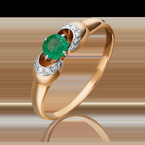 Кольцо из красного золота с изумрудом и бриллиантом 01-0904-00-106-1110-30
