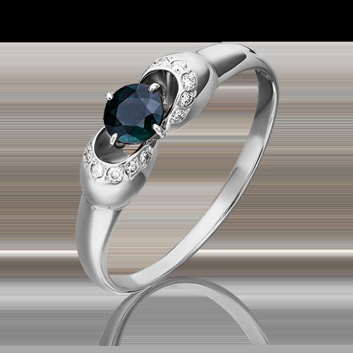 Кольцо из белого золота с сапфиром и бриллиантом 01-0905-00-105-1120-30