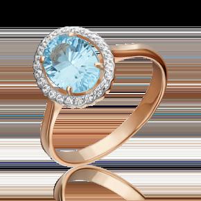 Кольцо из красного золота с топазом и бриллиантом 01-4259-00-113-1110-30