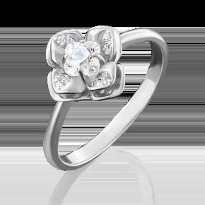 Кольцо из белого золота с фианитом огр.SW 01-4931-00-501-1120-38