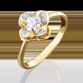 Кольцо из лимонного золота с фианитом огр.SW 01-4931-00-501-1130-38
