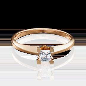 Помолвочное кольцо из красного золота с фианитом 01-4978-00-401-1110-03