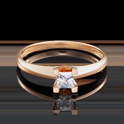 Помолвочное кольцо из красного золота с бриллиантом 01-4978-00-101-1110-30