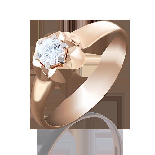 Помолвочное кольцо из красного золота с фианитом огр.SW 01-4941-00-501-1110-38