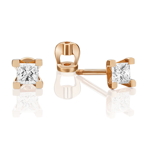 Серьги-пусеты из красного золота фианитом 02-3821-00-401-1110-03
