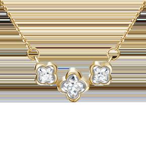 Колье из лимонного золота с фианитом огр.SW 07-0190-00-501-1130-38