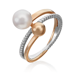 Кольцо из комбинированного золота с жемчугом культивированным 01-5333-00-301-1111-31