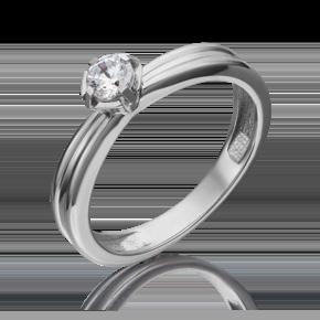 Помолвочное кольцо из белого золота с фианитом огр.SW 01-5257-00-501-1120-38