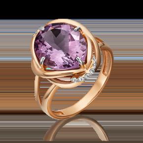 Кольцо из красного золота с аметистом и топазом white 01-5402-00-225-1110-46