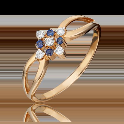 Кольцо из красного золота с бриллиантом и сапфиром 01-1074-00-105-1110-30
