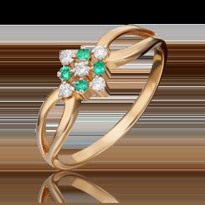 Кольцо из красного золота с бриллиантом и изумрудом 01-1074-00-106-1110-30