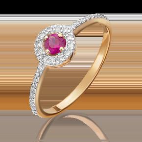 Кольцо из красного золота с рубином и бриллиантом 01-1076-00-107-1110-30