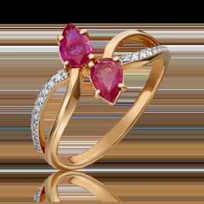 Кольцо из красного золота с рубином и бриллиантом 01-1082-00-107-1110-30