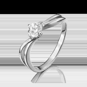 Помолвочное кольцо из белого золота с фианитом 01-3093-00-401-1120-03