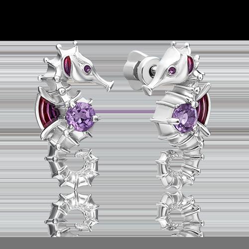 Серьги из серебра с аметистом и эмалью 02-4786-00-203-0200-69