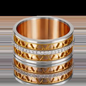 Обручальное кольцо из комбинированного золота с фианитом 01-4789-01-401-1140-50