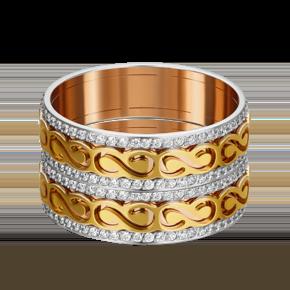 Обручальное кольцо из комбинированного золота с фианитом 01-4791-00-401-1140-50