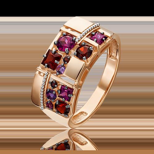 Кольцо из комбинированного золота с гранатом и аметистом 01-5307-00-257-1111-57