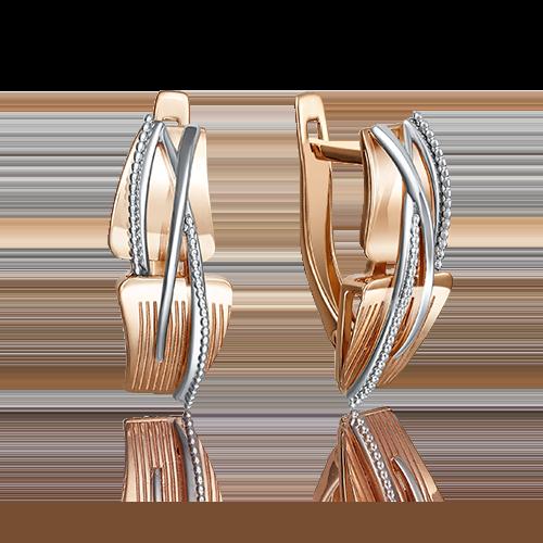 Серьги с английским замком из комбинированного золота 02-4070-00-000-1111-48