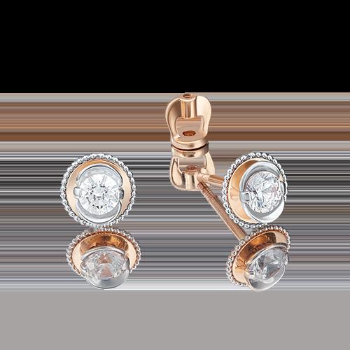 Серьги-пусеты из красного золота бриллиантом 02-4126-00-101-1110-30