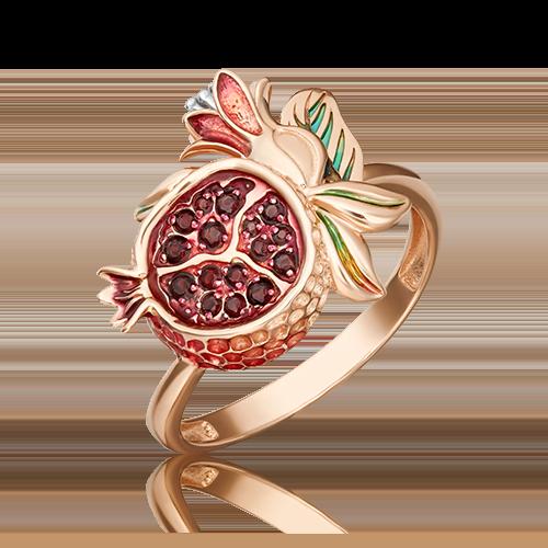 Кольцо из красного золота с гранатом и эмалью 01-5465-00-204-1110-57