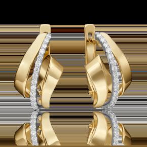 Серьги с английским замком из лимонного золота с фианитом 02-4562-00-401-1121-24