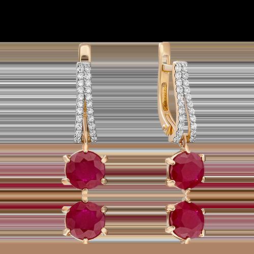 Серьги с английским замком из красного золота с рубином и бриллиантом 02-0749-00-107-1110-30