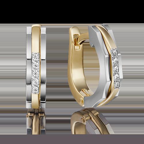 Серьги с английским замком из комбинированного золота бриллиантом 02-4286-00-101-1121-30