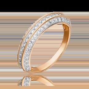 Кольцо из красного золота с бриллиантом 01-3933-00-101-1110-30