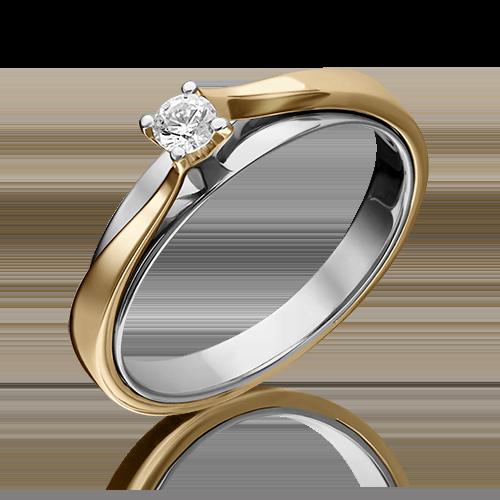 Помолвочное кольцо из комбинированного золота бриллиантом 01-5235-00-101-1121-30