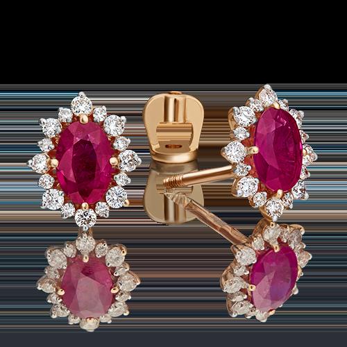 Серьги-пусеты из красного золота с рубином и бриллиантом 02-0705-00-107-1110-30