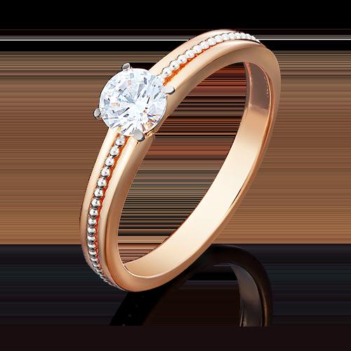 Помолвочное кольцо из комбинированного золота фианитом огр.SW 01-5034-00-501-1111-38