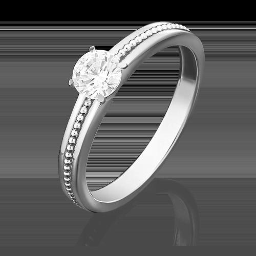 Помолвочное кольцо из белого золота с фианитом огр.SW 01-5034-00-501-1120-38