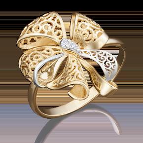 Кольцо из лимонного золота с фианитом 01-5036-00-401-1130-48