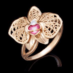 Кольцо из красного золота с фианитом и эмалью 01-5039-00-401-1110-48