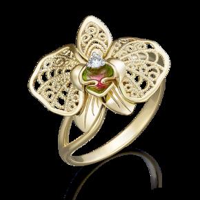Кольцо из лимонного золота с фианитом и эмалью 01-5039-00-401-1130-48