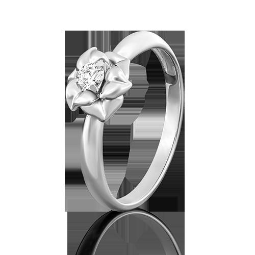 Помолвочное кольцо из белого золота фианитом огр.SW 01-5018-00-501-1120-38