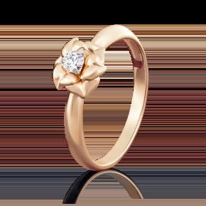 Помолвочное кольцо из красного золота с фианитом огр.SW 01-5018-00-501-1110-38