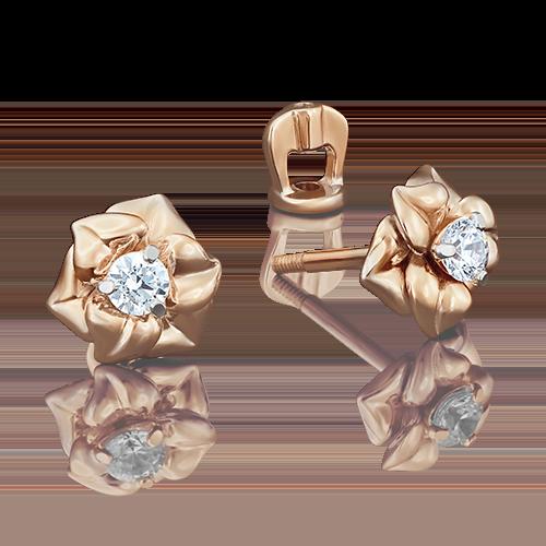 Серьги-пусеты из красного золота с фианитом огр.SW 02-3941-00-501-1110-38