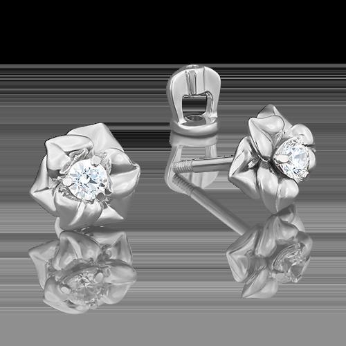 Серьги-пусеты из белого золота фианитом огр.SW 02-3941-00-501-1120-38