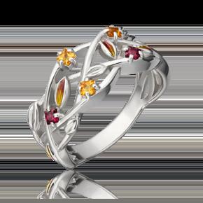 Кольцо из серебра с гранатом, цитрином и эмалью 01-5474-00-722-0200-68